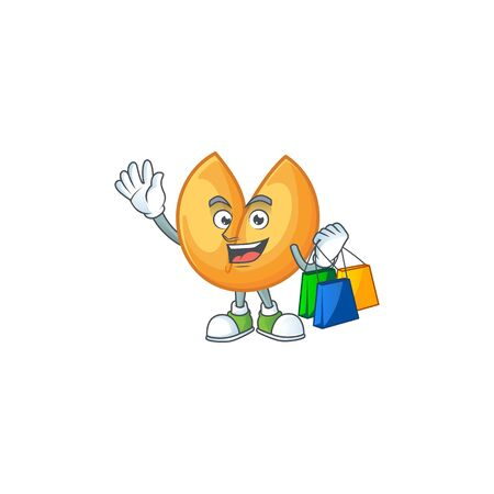 A happy rich chinese fortune cookie waving and holding Shopping bag. Vector illustration Stok Fotoğraf - 138438783
