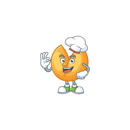 Chinese fortune cookie cartoon character wearing costume of chef and white hat. Vector illustration