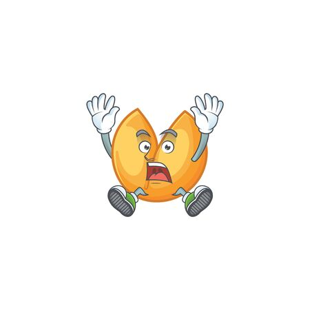 An icon character of chinese fortune cookie style with shocking gesture. Vector illustration