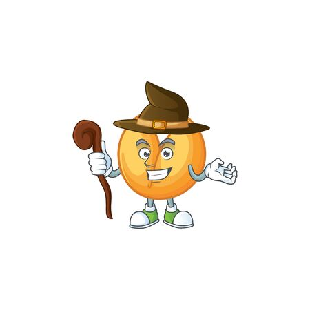 cartoon mascot style of chinese fortune cookie dressed as a witch. Vector illustration