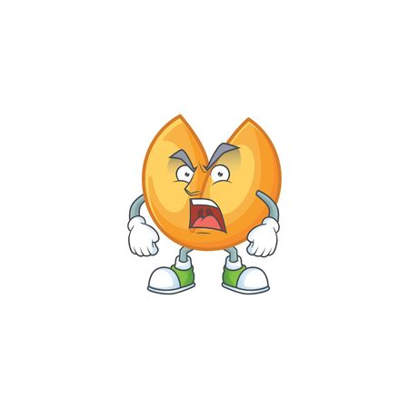 Chinese fortune cookie cartoon character design having angry face. Vector illustration