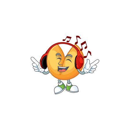 Listening music chinese fortune cookie mascot cartoon character design. Vector illustration Çizim