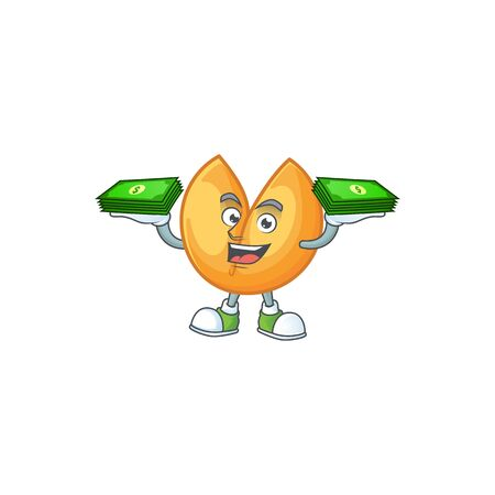 happy rich chinese fortune cookie character with money on hands. Vector illustration