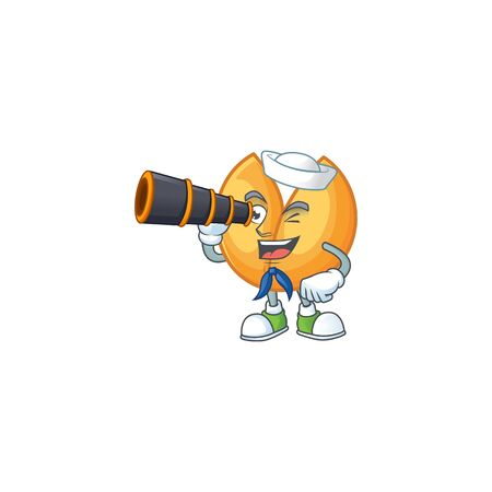 Chinese fortune cookie cartoon happy Sailor style with binocular. Vector illustration