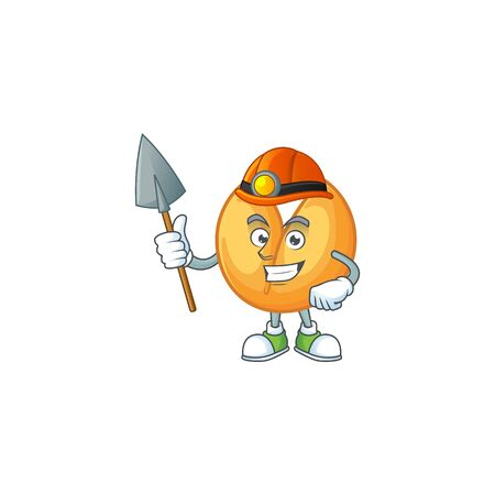 Cool clever Miner chinese fortune cookie cartoon character design. Vector illustration