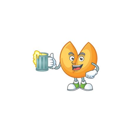 Happy chinese fortune cookie mascot design with a big glass. Vector illustration