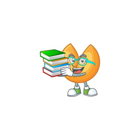 Cool and clever Student chinese fortune cookie mascot cartoon with book. Vector illustration Çizim