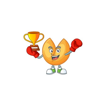 fantastic Boxing winner of chinese fortune cookie in mascot cartoon style. Vector illustration