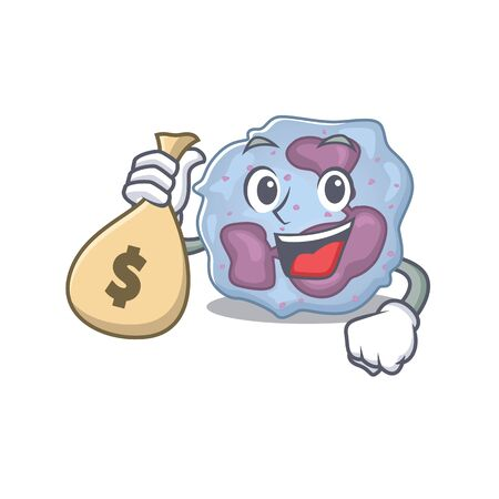 Happy rich leukocyte cell cartoon character with money bag. Vector illustration