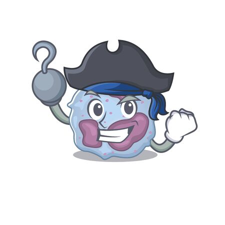 cool and funny leukocyte cell cartoon style wearing hat. Vector illustration Archivio Fotografico - 138438978