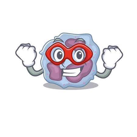 Smiley mascot of leukocyte cell dressed as a Super hero. Vector illustration