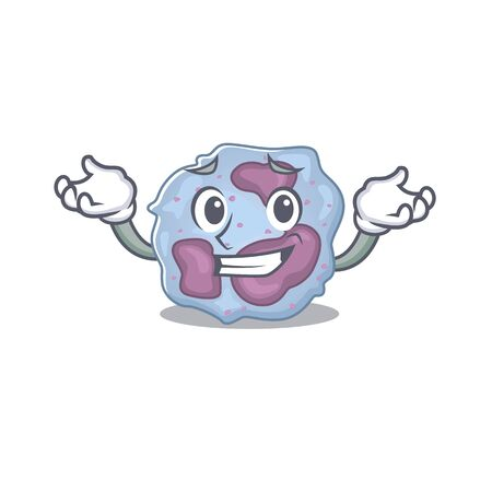 Super Funny Grinning leukocyte cell mascot cartoon style. Vector illustration