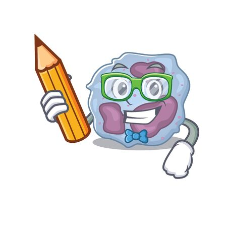 A picture of Student leukocyte cell character holding pencil
