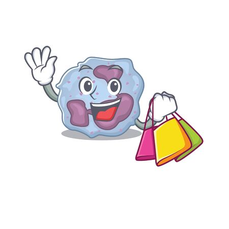 A happy rich leukocyte cell waving and holding Shopping bag