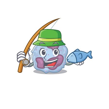 A Picture of happy Fishing leukocyte cell design. Vector illustration  イラスト・ベクター素材