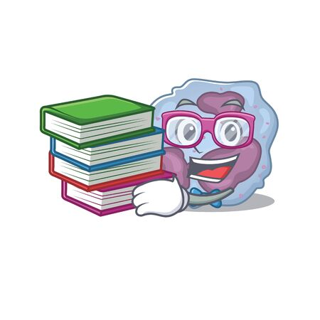 Cool and clever Student leukocyte cell mascot cartoon with book