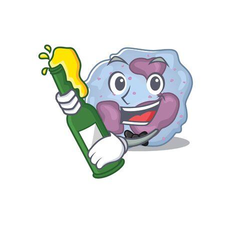 mascot cartoon design of leukocyte cell with bottle of beer Ilustração