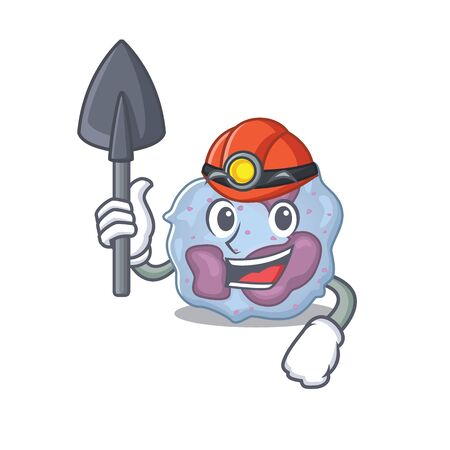 Cool clever Miner leukocyte cell cartoon character design
