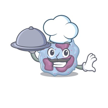 cartoon design of leukocyte cell as a Chef having food on tray
