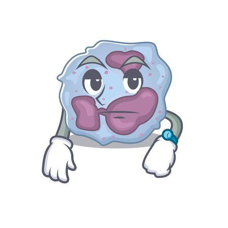 cartoon character design of leukocyte cell on a waiting gesture Stok Fotoğraf - 138460198