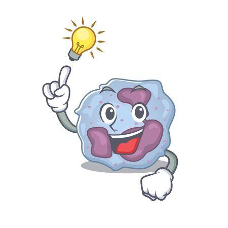 Have an idea gesture of leukocyte cell cartoon character design Ilustración de vector