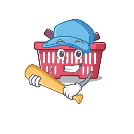 Conception de personnage de dessin animé de panier d'achat sportif avec baseball. Illustration vectorielle
