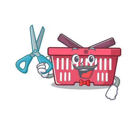 Smiley Funny Barber shopping basket cartoon character design style. Vector illustration