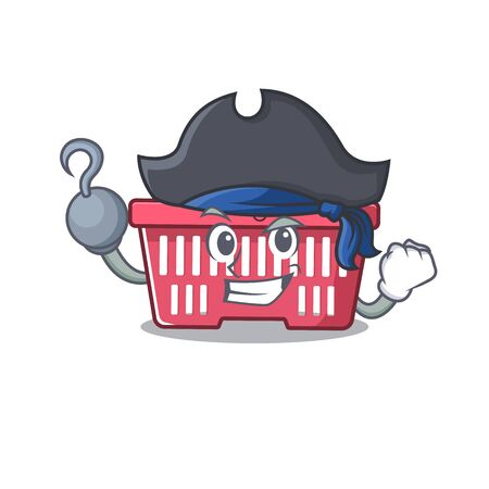 cool and funny shopping basket cartoon style wearing hat. Vector illustration Archivio Fotografico - 138460399