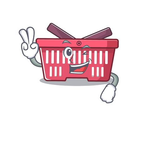 Smiley mascot of shopping basket cartoon Character with two fingers. Vector illustration