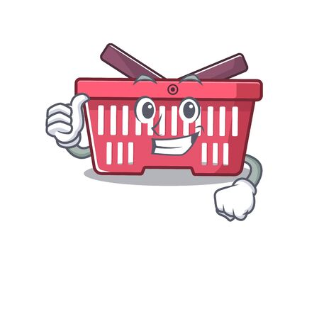 Cheerfully shopping basket making Thumbs up gesture. Vector illustration