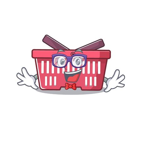 cartoon character of Geek shopping basket design. Vector illustration Stok Fotoğraf - 138446683