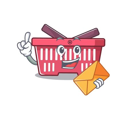 Cheerfully shopping basket mascot design with envelope. Vector illustration