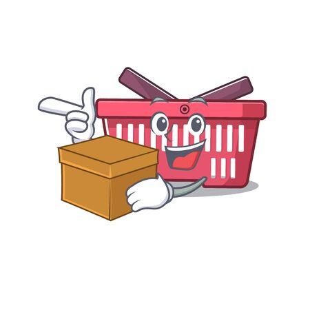 Cute shopping basket cartoon character having a box. Vector illustration Banque d'images - 138461043