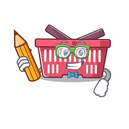 A picture of Student shopping basket character holding pencil. Vector illustration Çizim