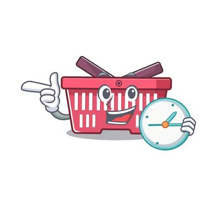 cartoon character style shopping basket having clock. Vector illustration
