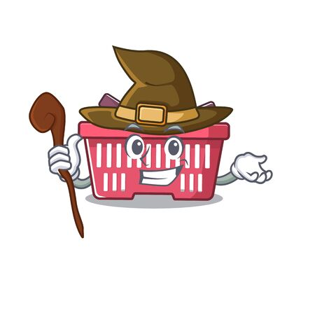 cartoon mascot style of shopping basket dressed as a witch. Vector illustration Imagens - 138461061