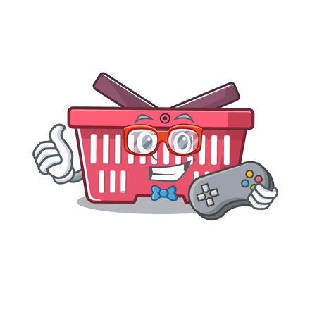 Smiley gamer shopping basket cartoon mascot style. Vector illustration
