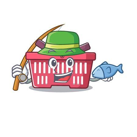 A Picture of happy Fishing shopping basket design. Vector illustration Illusztráció