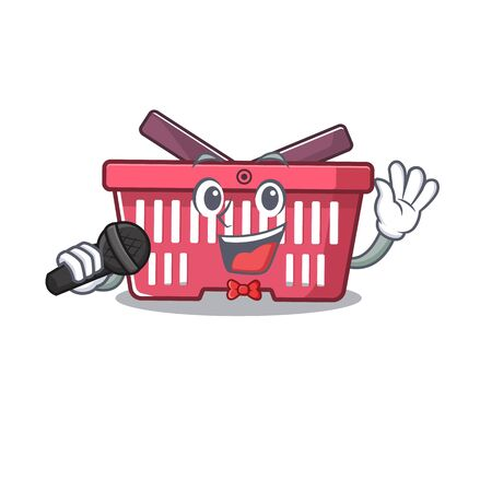 Happy shopping basket singing on a microphone. Vector illustration Imagens - 138461165