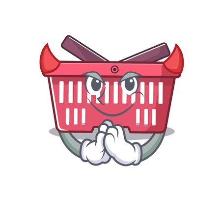 Devil shopping basket Cartoon in character design. Vector illustration