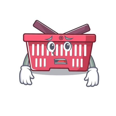 A picture of shopping basket showing afraid look face. Vector illustration