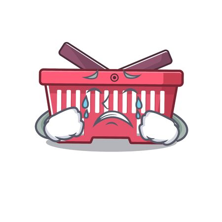 Sad of shopping basket cartoon mascot style. Vector illustration