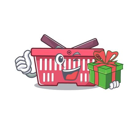 Smiley shopping basket character with gift box. Vector illustration Imagens - 138461128