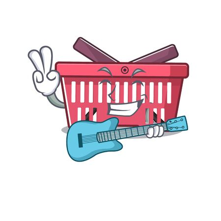 A mascot of shopping basket performance with guitar. Vector illustration