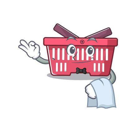 Friendly shopping basket Character stand as a Waiter character. Vector illustration Illusztráció