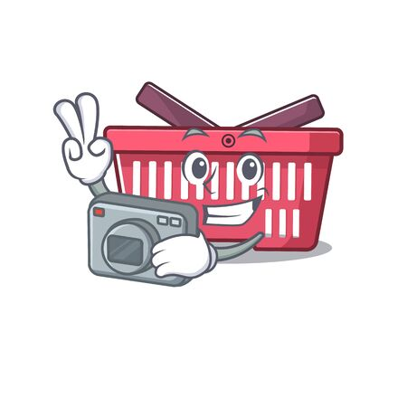 Cool Photographer shopping basket character with a camera. Vector illustration Imagens - 138461253