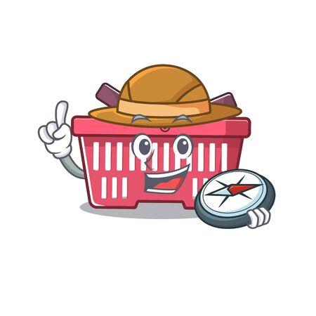 Shopping basket stylized Explorer having a compass. Vector illustration