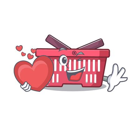 Funny Face shopping basket cartoon character holding a heart. Vector illustration Illustration