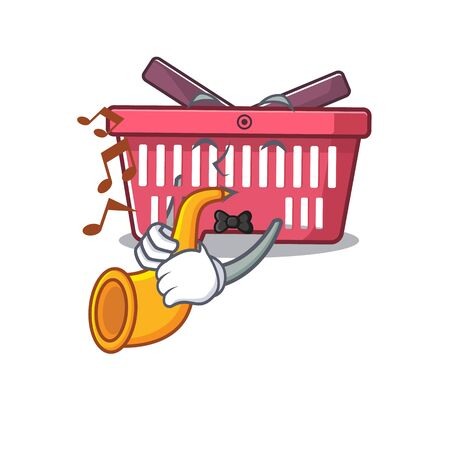 cartoon character style of shopping basket performance with trumpet. Vector illustration Imagens - 138461536
