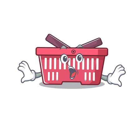 Shopping basket cartoon character design on a surprised gesture. Vector illustration